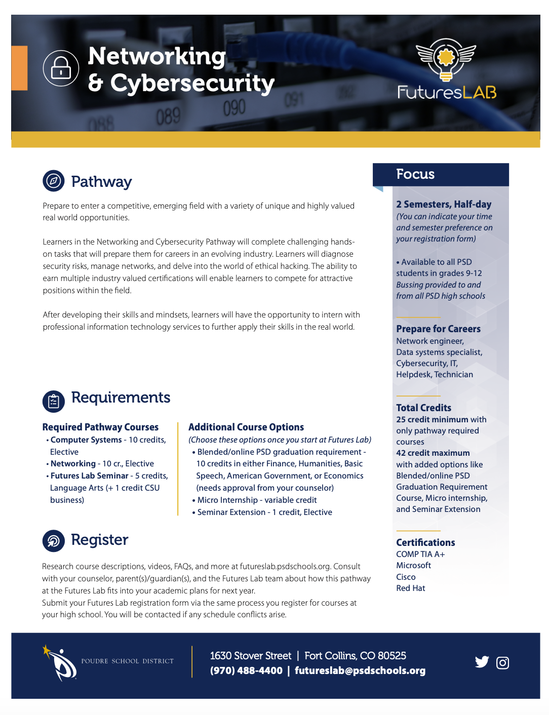 Networking & Cybersecurity Pathway flyer